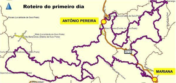 Enduro da Independência 2014 - mapa do primeiro dia