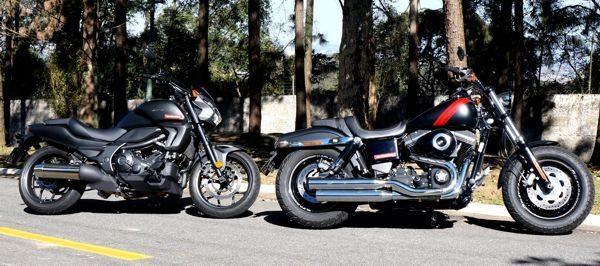 "Honda CTX e Harley Fat Bob, Duas da classe ""dark custom"""