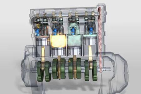 Motor tem configuracao classica de virabrequim - pistões sobem e descem dois a dois, configurando 180 graus de defasagem nas explosões