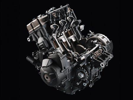 Motor da MT-09 tem a disposição dos seus eixos principais, Virabrequim, Eixos da relação primária e secundária em disposição triangular para maior concentração de massa. O resultado é um conjunto mais compacto