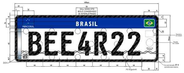 Placa Mercosul para veículos de quatro ou mais rodas