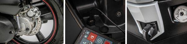 Detalhes que fazem toda a diferença: freio traseiro a disco com CBS, entrada USB no porta-luvas e alça frontal para prender sacolas de compras ou mochilas