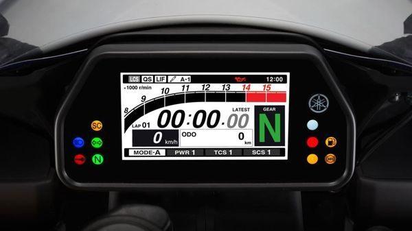 A telemetria da R1 está disponível no painel, no modelo especial, R1M há um sistema de comunicação sem fio para leitura e gravação de novos parâmetros