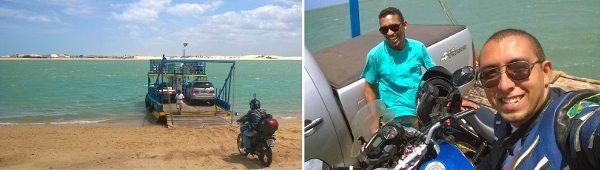 Foto 1: pegando a balsa em Camocim para a Ilha do Amor - Foto 2: eu e o Ronaldo, o guia desenrolado que ia em uma Fan150
