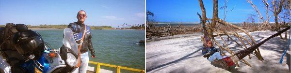 Foto 1: travessia da segunda balsa para entrar no Parque Nacional de Jericoacoara - Foto 2: redes para descansar. Quando a maré sobe esse ponto fica com água na altura da rede