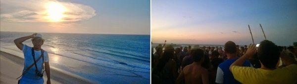 Foto 1: meu momento de turista pela praia apreciando a vista do Por do Sol nas dunas - Foto 2: roda de capoeira ao fim da tarde em Jericoacoara