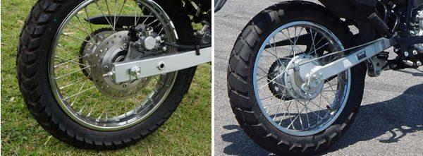 Freio a disco na traseira é disponível como opcional na Honda - Na Yamaha o freio traseiro é a tambor apenas