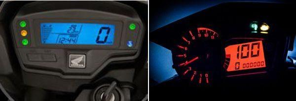 Painel digital na Bros 160 - Na Yamaha há um contagiros e indicador de marchas como adicionais