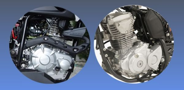 Motor da Yamaha (esq) tem 149,3cc - Motor da Honda (dir) tem 162,7cc