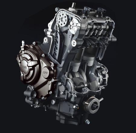 O motor DOHC entrega 74,8 cv atingidos a 9.000 rpm e torque de 6,9 kgfm a 6.500 rpm