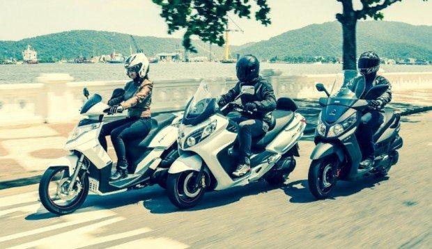 A linha completa dos scooters Dafra: Cityclass, MaxSym e Citycom; falta o pequeno de 125 cc