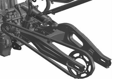 Balança traseira assimetrica tem conexão com o amortecedor por maio de link - Amortecedor trabalha na horizontal para maior concentração de massas