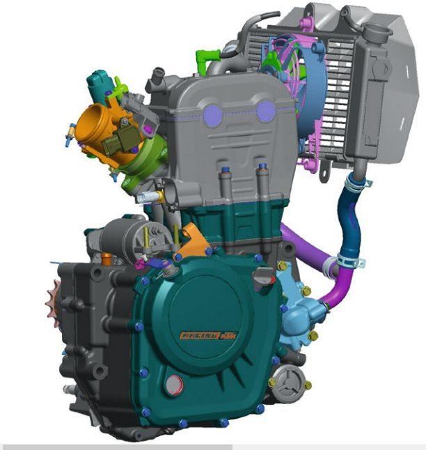 Motor compacto de um cilindro, duplo comando de válvulas no cabeçote, arrefecimento a líquido e injeção eletrônica