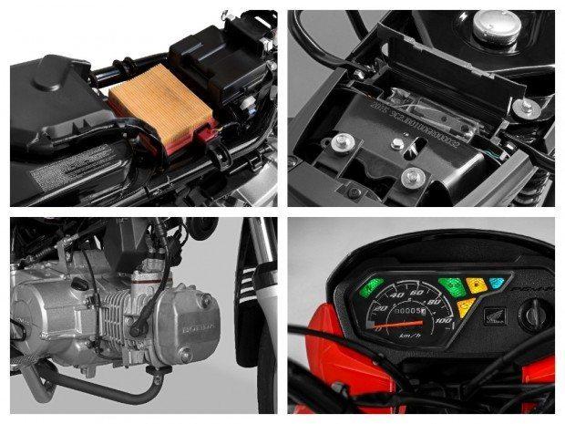 Alguns detalhes que mudaram na nova POP 110i: caixa do filtro de ar, tanque de combustível, motor e painel