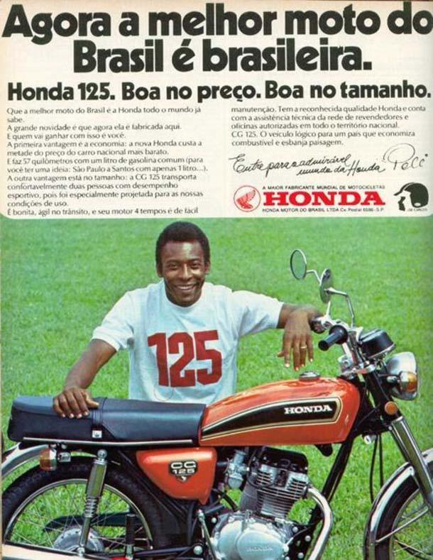 O Rei Pelé foi o garoto-propaganda do lançamento da CG 125 em 1976