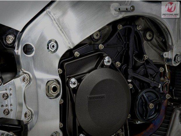 Detalhe do chassi da Honda RC213 v-s