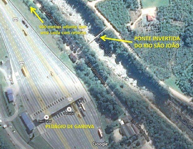 Localização da ponte invertida do Rio São João em Garuva (SC)