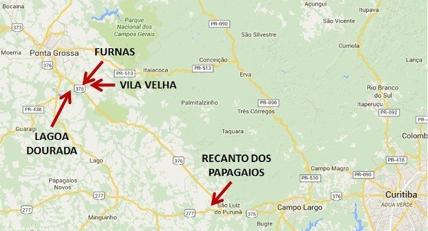 Região dos Campos Gerais entre Curitiba e Ponta Grossa