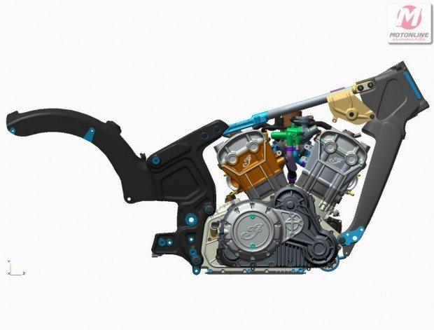Chassi composto de várias partes em alumínio forjado, usa o motor como peça estrutural