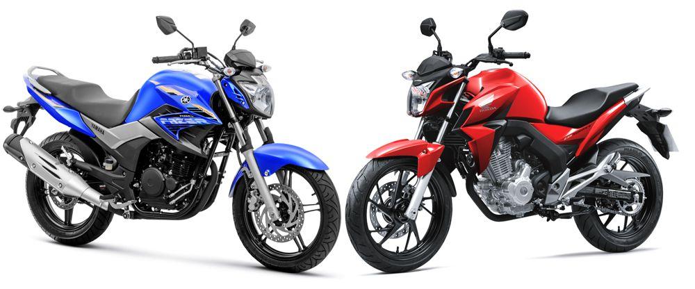 Yamaha Fazer 250 Blueflex e Honda CB Twisteer frente a frente