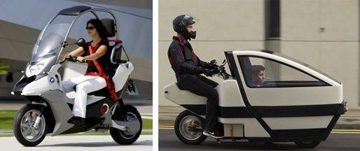Alguns scooters oferecem alguma proteção contra intempéries; à esquerda o modelo C1 desenvolvido pela BMW e à direita um protótipo desenvolvido na Alemanha que tem compartimento para o transporte de um passageiro