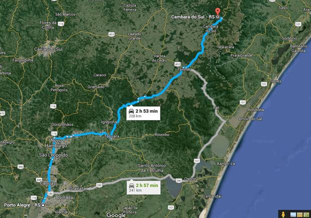 Há, basicamente, duas rotas para quem vai de Porto Alegre à Cambará. Uma com a Rota do Sol e outra pela ERS 020, cada uma com suas belezas