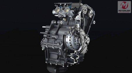 Motor, mesmo que equipa a R3 tem vigor de sobra para empurrar os 168 kg da MT-03