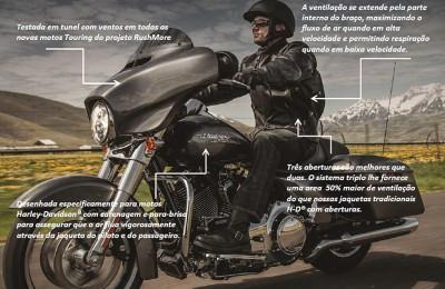 Funcionamento da linha Triple Vent System, da Harley, que promove até 50% mais de ventilação em relação a outros modelos da marca