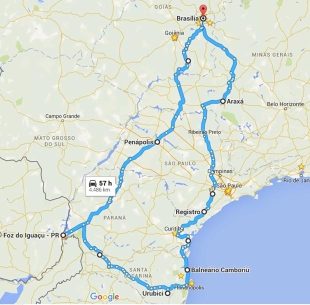 Planejando a viagem com auxílio do Google Maps