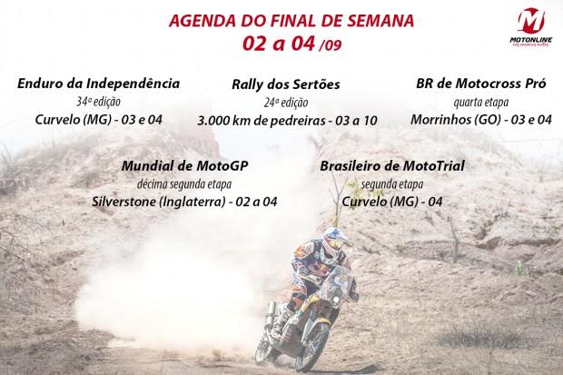 Enduro da Independência, Rally dos Sertões, MX Pró, Mundial de Motogp, Brasileiro de MotoTrial. Ufa... quase faltou fôlego. Quer mais?