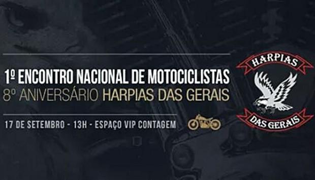 Material de divulgação do oitavo Aniversário do Harpias das Gerais e do primeiro encontro nacional de motociclistas