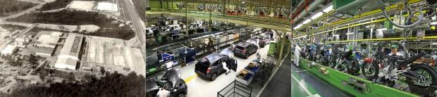 A fábrica de Manaus na época da construção, em 1976, a fábrica de automóveis em Sumaré (SP) e hoje, a mesma fábrica de Manaus