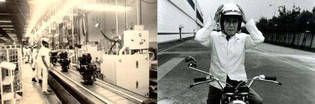 A linha de montagem de motores, em Manaus, em 1980; Soichiro Honda, noutra ocasião, em Manaus