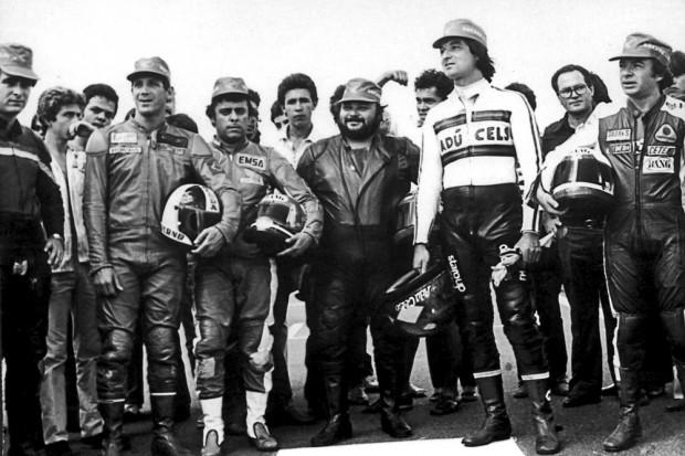 Motovelocidade nos anos 1970: Denísio, Tucano, Edmar, Carlos Eduardo Luzia e Adú Celso, em 1979