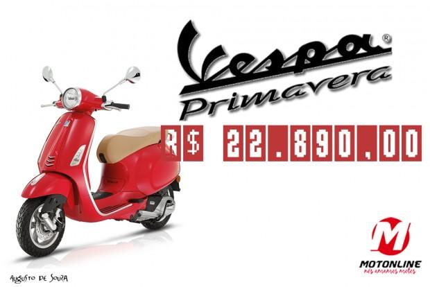 A Vespa Primavera 125cc, modelo de entrada da marca, custa R$ 22.890,00. Vendas já iniciaram