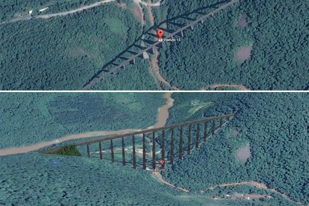 Até mesmo de imagens de satélite é possível ter uma noção da grandiosidade do V13. Imagens: Google