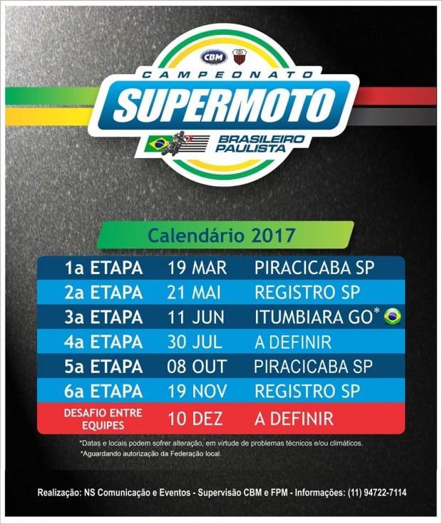 Brasileiro de Supermoto terá seis etapas, mais uma especial ao final-