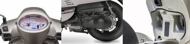 Painel agradável e funcional; motor oferece 10,3 cv e o bom espaço embutido no escudo frontal, com tampa e chave