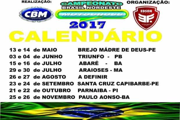 Reativado em 2014, o Campeonato Brasil Nordeste de Motocross reunirá pilotos de nove estados em 2017, e estará dividido em 11 categorias