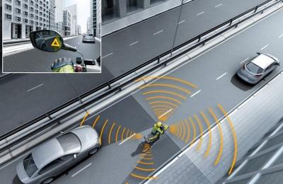 O Side View Assist - assistente que usa sensores para monitorar o perigo nos dois lados da moto