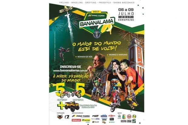 Bananalama 2017 movimenta o interior de Santa Catarina até o próximo domingo, reunindo milhares de trilheiros. Programação conta com shows nacionais e sorteio de 10 motos