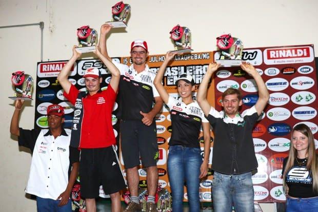 Pódio da categoria E4, com Bruno Martins em primeiro lugar e Bárbara no quarto posto