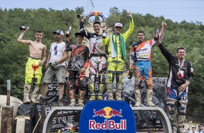 Winners of the all classes celebrate on the podium at the Red Bull Romaniacs in Sibiu, Romania on July 29, 2017. // Predrag Vuckovic/Red Bull Content Pool // P-20170729-00579 // Usage for editorial use only // Please go to www.redbullcontentpool.com for further information. //