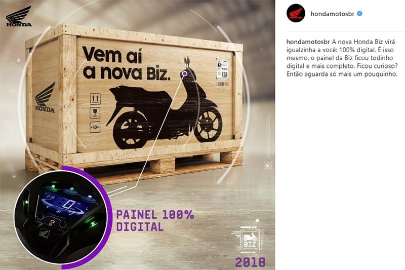 Honda divulgou teasers em redes sociais com novidades da Biz 2018. Modelo será apresentado oficialmente no Salão Duas Rodas, em novembro, em São Paulo