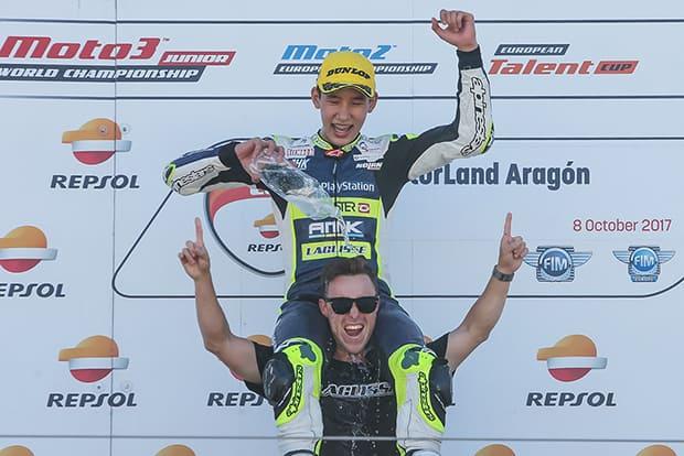 No ano passado, Meikon estreou em competições internacionais. Além do aprendizado (o que mais importa neste momento), piloto faturou até pódio e vitória no Europeu de Moto3
