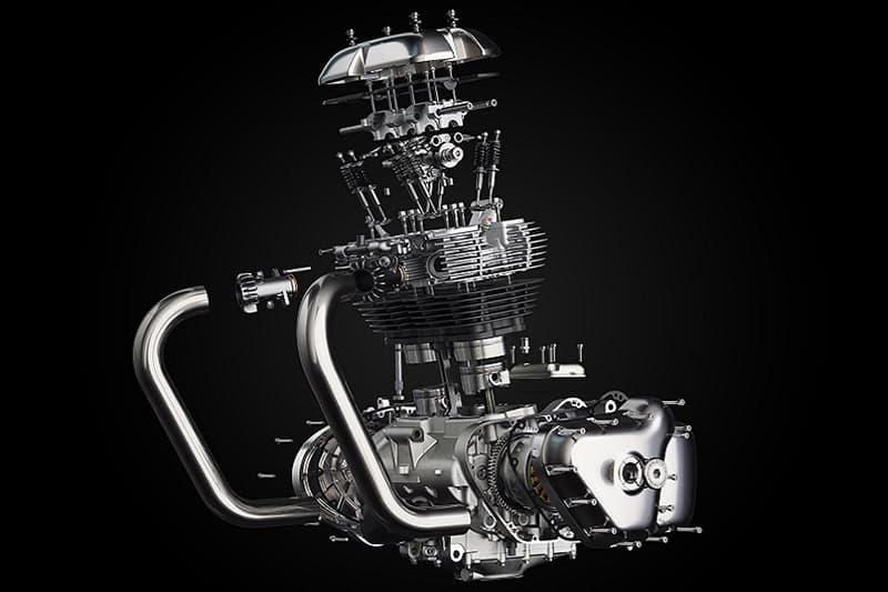 Royal Enfield desenvolveu um novo motor, o mais potente da marca atualmente. Com dois cilindros paralelos e 648 cc, ele gera 47 cv e 5,3 kgf.m de torque (disponíveis já aos 4 mil giros)