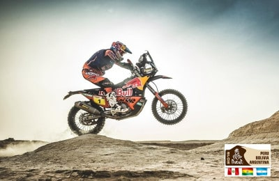 Sam Sunderland with the new KTM 450 Rally, Morocco, Arfud on September 29, 2017