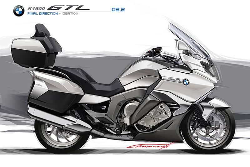 Arte conceitual da BMW K 1600 GTL. Esbanjando eletrônica de ponta, modelo segue com motor de seis cilindros em linha e eixo cardã,  que produz 160 cv de potência e 18 kgf.m de torque