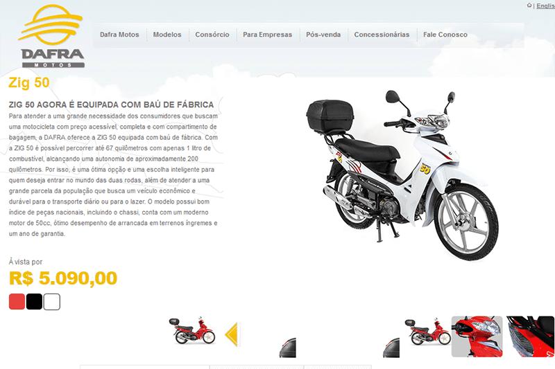 Concessionárias seguem vendendo unidades que ainda estão no estoque e por isso a Zig 50 segue disponível no site da marca