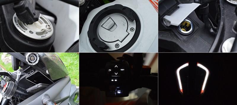 Suspensão WP, tampa do tanque com abertura eletrônica, tomada 12 V bem localizada e protegida, compartimento com tomada USB fechado, iluminação nos comandos do punho e a assinatura do farol de LED